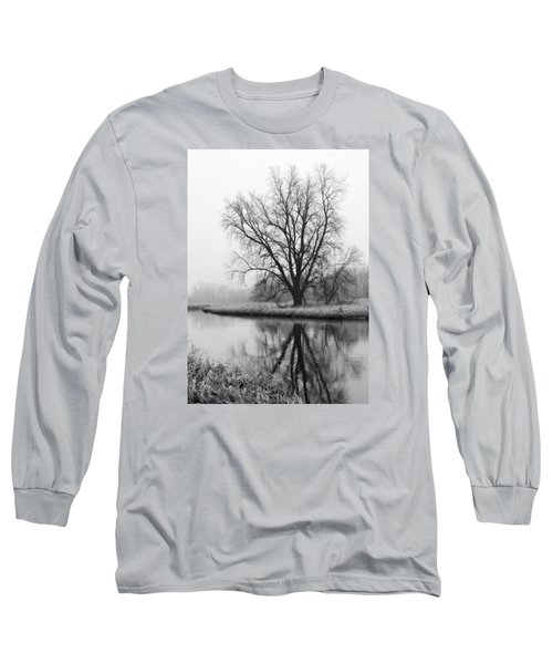 Tree Reflection In The Fox River On A Foggy Day Long Sleeve T-Shirt