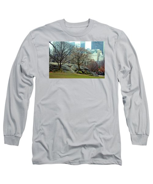 Trees In Rock Long Sleeve T-Shirt by Sandy Moulder