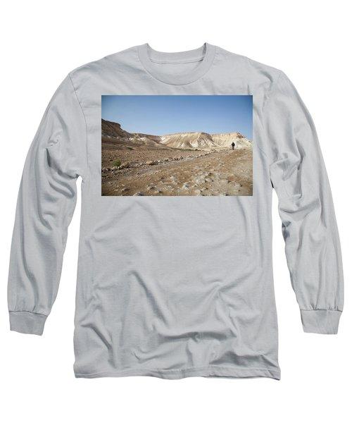 Trekker Alone On The Wild Way Long Sleeve T-Shirt by Yoel Koskas
