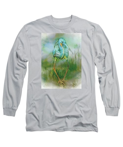 Tri-colored Heron Balancing Act - Colorized Long Sleeve T-Shirt