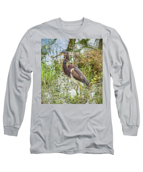 Tri-colored Heron Long Sleeve T-Shirt