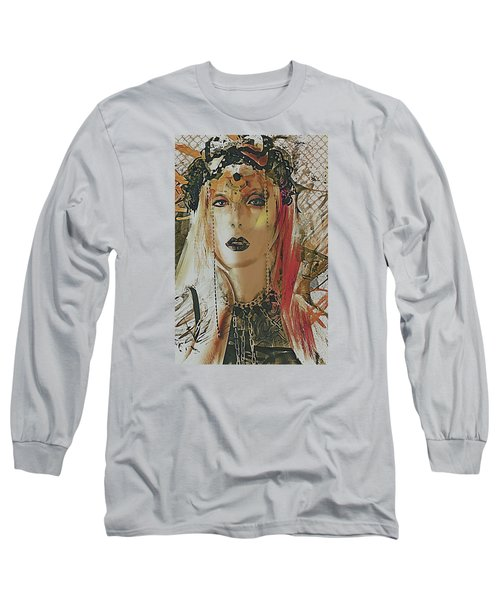 Long Sleeve T-Shirt featuring the digital art Tribal Rust Portrait by Galen Valle