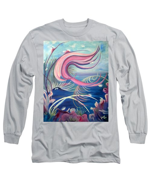 Long Sleeve T-Shirt featuring the painting Tropical Dancer by Renate Nadi Wesley