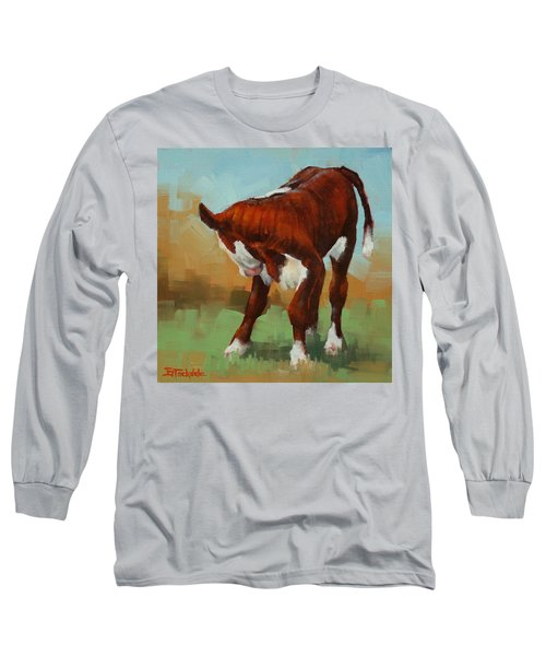 Long Sleeve T-Shirt featuring the painting Turning Calf by Margaret Stockdale