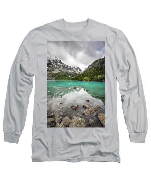 Long Sleeve T-Shirt featuring the photograph Turquoise Lake In The Mountains by Pierre Leclerc Photography