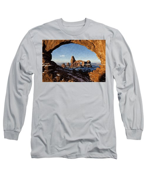 Long Sleeve T-Shirt featuring the digital art Turret Arch by Kai Saarto