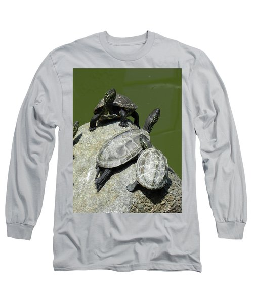 Turtles At A Temple In Narita, Japan Long Sleeve T-Shirt by Breck Bartholomew