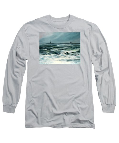 Twin Lights Rockport Ma Long Sleeve T-Shirt by Eileen Patten Oliver