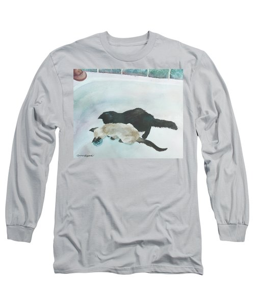 Two Cats In A Tub Long Sleeve T-Shirt by Anne Gifford