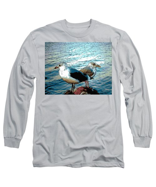 Two Gulls Long Sleeve T-Shirt by Ann Tracy