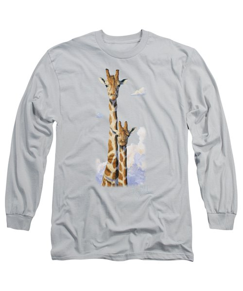 Two Heads In The Clouds Long Sleeve T-Shirt by Lucie Bilodeau