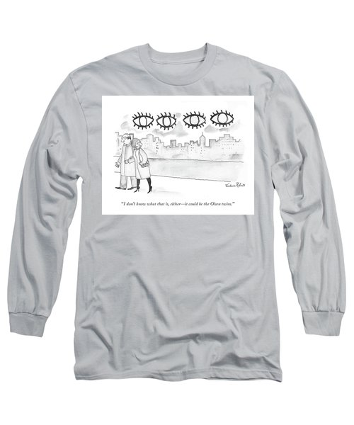 Two Large Sets Of Eyes Loom Over City Skyline. Long Sleeve T-Shirt