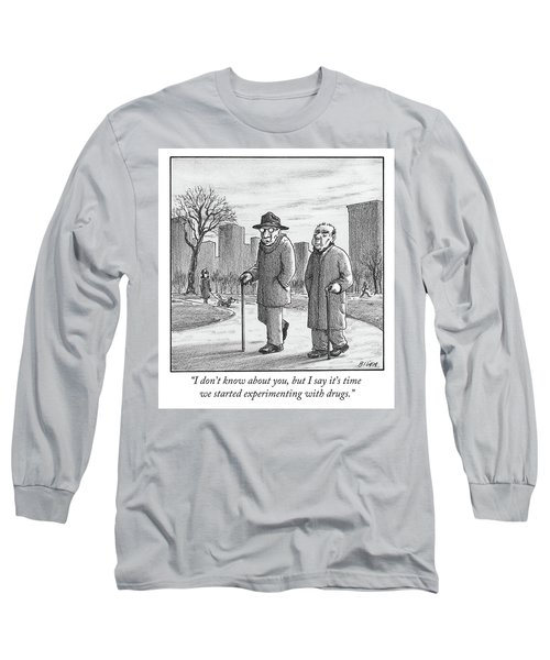 Two Older Men Walk With Canes Through A Park. Long Sleeve T-Shirt