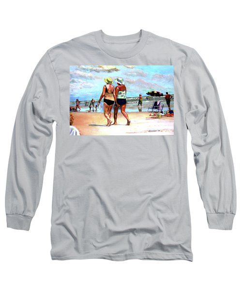 Two Women Walking On The Beach Long Sleeve T-Shirt by Stan Esson