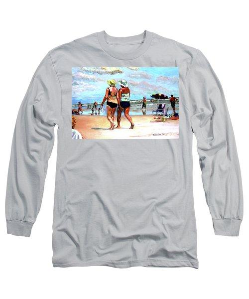 Two Women Walking On The Beach Long Sleeve T-Shirt