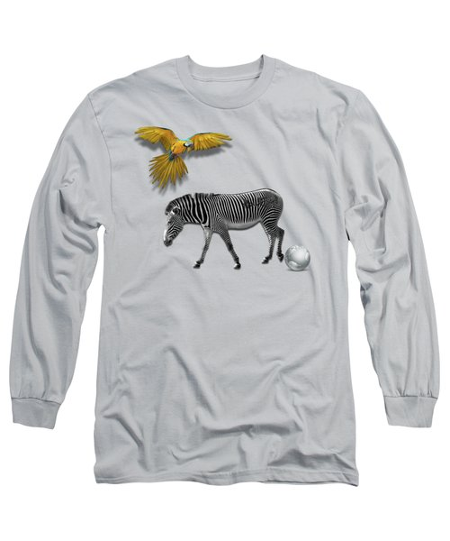Two Zebras And Macaw Long Sleeve T-Shirt by iMia dEsigN