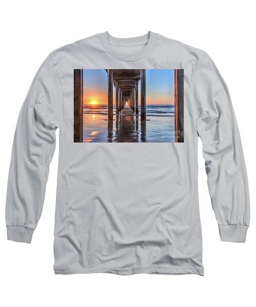 Under Scripps Pier At Sunset Long Sleeve T-Shirt