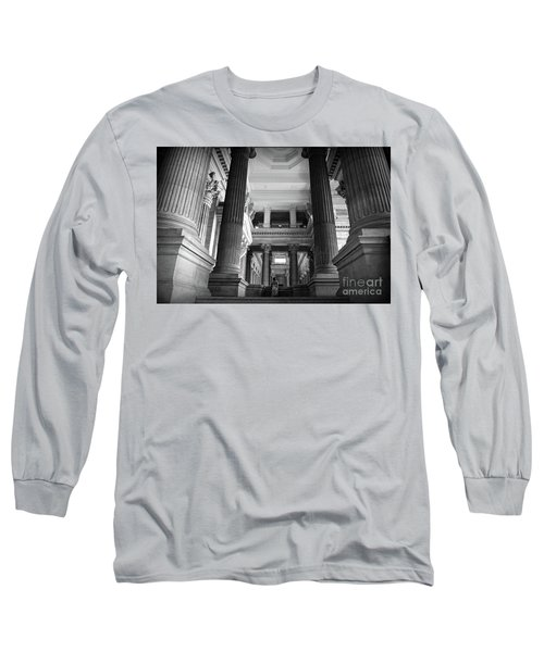 Long Sleeve T-Shirt featuring the photograph Under The Scaffolding Of The Palace Of Justice - Brussels by RicardMN Photography