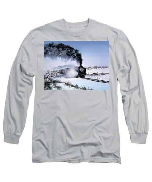 Union Pacific 8444 Steam Locomotive In The Snow Long Sleeve T-Shirt