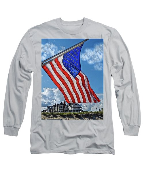 Us Flag,ocean Grove,nj Flag Long Sleeve T-Shirt by Joan Reese