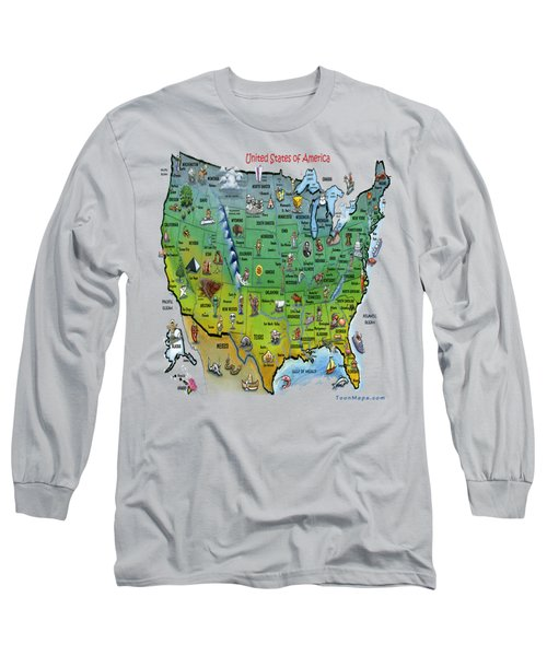 Usa Cartoon Map Long Sleeve T-Shirt