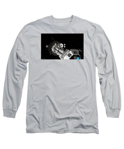 Long Sleeve T-Shirt featuring the digital art Uss Savannah Nearing Jupiter by David Robinson