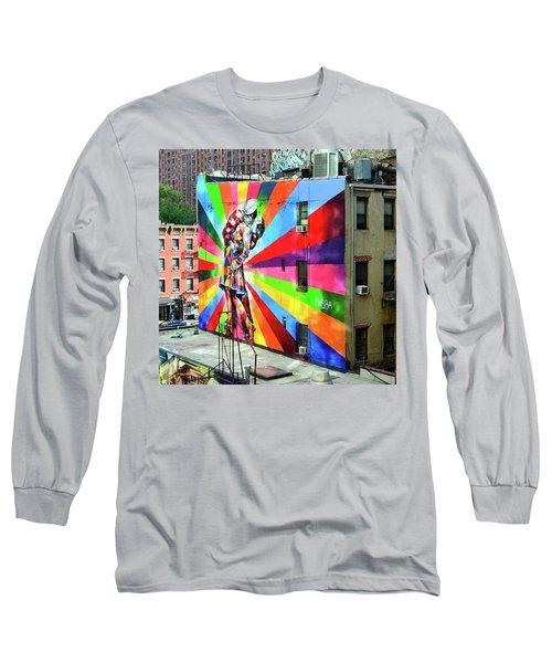 V - J Day Mural By Eduardo Kobra # 2 Long Sleeve T-Shirt