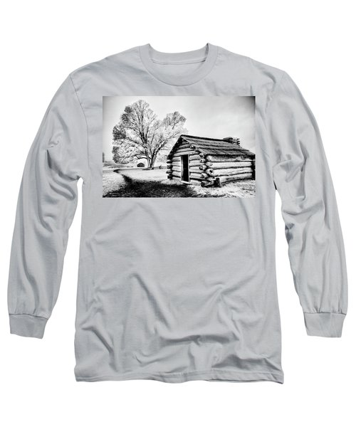 Long Sleeve T-Shirt featuring the photograph Valley Forge Winter Troops Hut                           by Paul W Faust - Impressions of Light