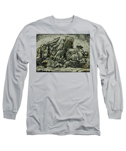 Long Sleeve T-Shirt featuring the drawing Vedauwoo by Dawn Senior-Trask