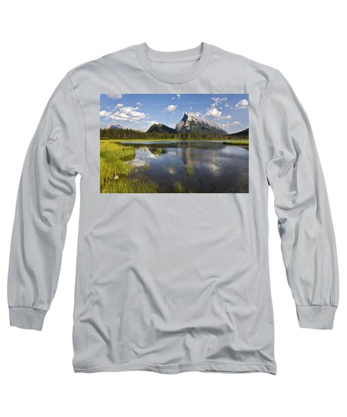 Vermillion Lake And Sulpher Mountain Long Sleeve T-Shirt