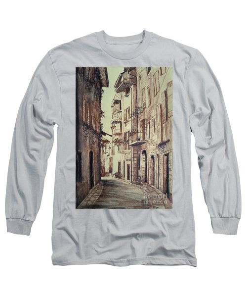Long Sleeve T-Shirt featuring the drawing Verona Drawing Of A Narrow Street by Maja Sokolowska