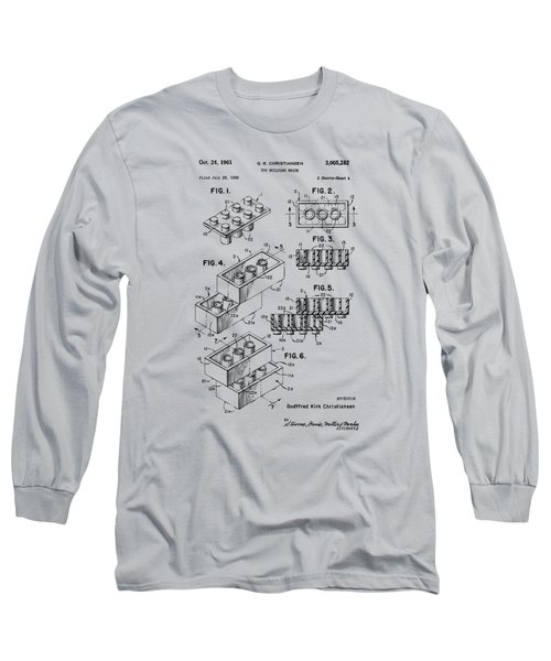 Long Sleeve T-Shirt featuring the drawing Vintage 1961 Toy Building Brick Patent Art by Nikki Marie Smith