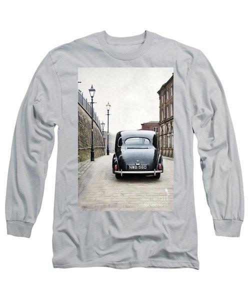 Vintage Car On A Cobbled Street Long Sleeve T-Shirt by Lee Avison