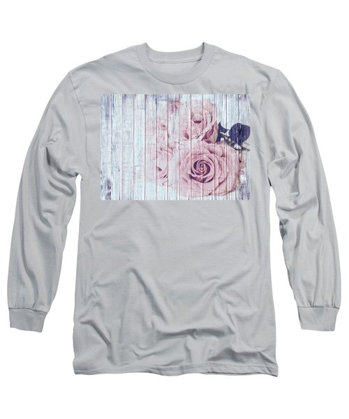 Vintage Shabby Chic Dusky Pink Roses On Blue Wood Effect Background Long Sleeve T-Shirt
