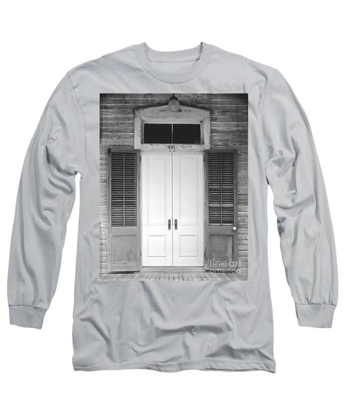 Long Sleeve T-Shirt featuring the photograph Vintage Tropical Weathered Key West Florida Doorway by John Stephens