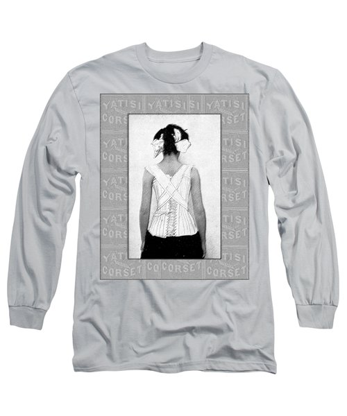 Vintage Woman In Corset Duotone Long Sleeve T-Shirt
