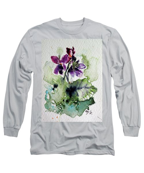 Violet Iv Long Sleeve T-Shirt by Kovacs Anna Brigitta