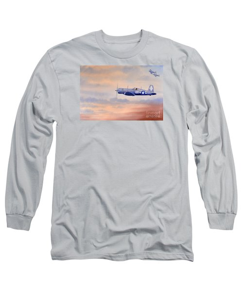 Long Sleeve T-Shirt featuring the painting Vought F4u-1d Corsair Aircraft by Bill Holkham