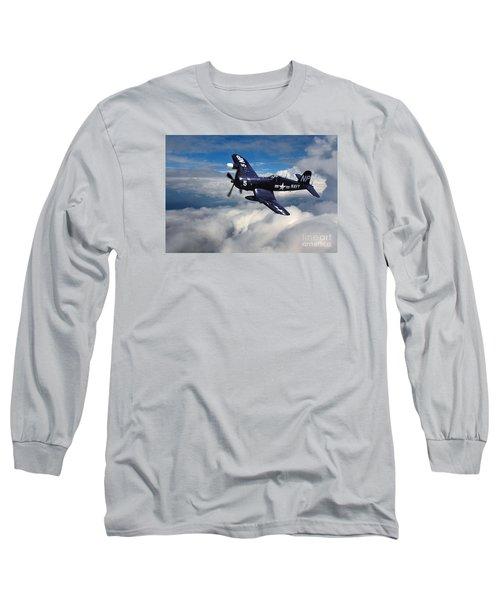 Vought F4u Corsair In Flight Long Sleeve T-Shirt