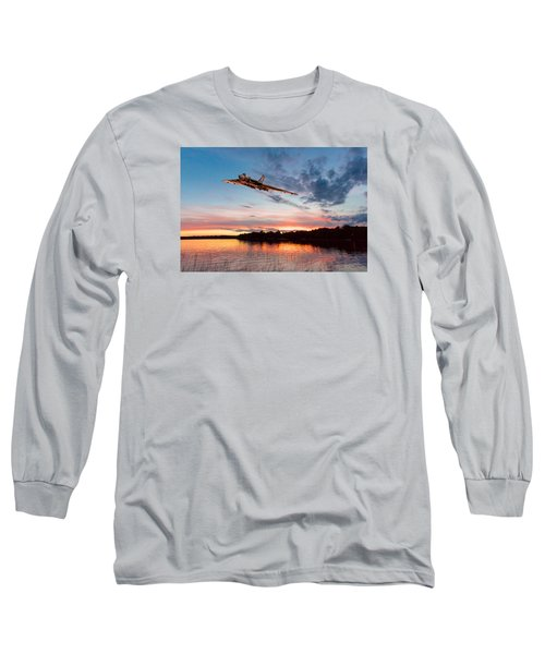 Vulcan Low Over A Sunset Lake Long Sleeve T-Shirt by Gary Eason