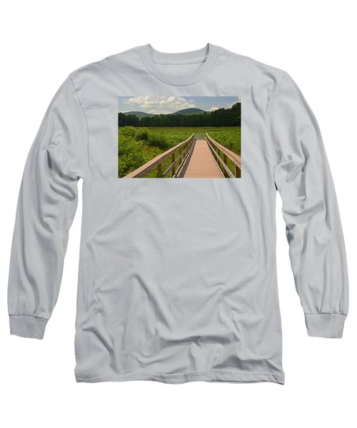 Long Sleeve T-Shirt featuring the photograph Walkway To A Mountain Color by Nancy De Flon