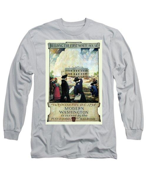 Washington D C Vintage Travel 1932 Long Sleeve T-Shirt by Daniel Hagerman