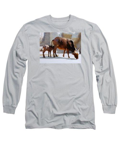 Long Sleeve T-Shirt featuring the photograph Water Buffalo And Feeding Calf by Merton Allen