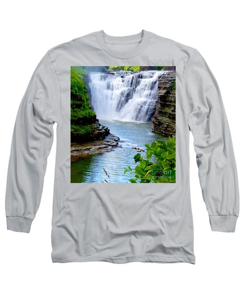 Water Falls Long Sleeve T-Shirt by Raymond Earley