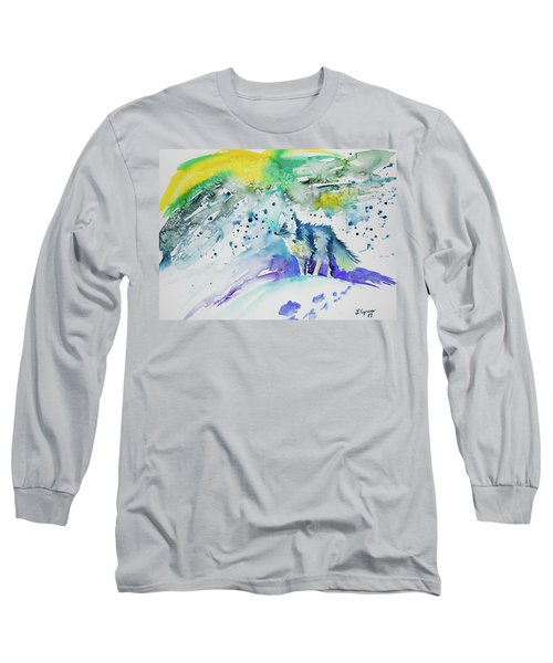 Watercolor - Arctic Fox Long Sleeve T-Shirt
