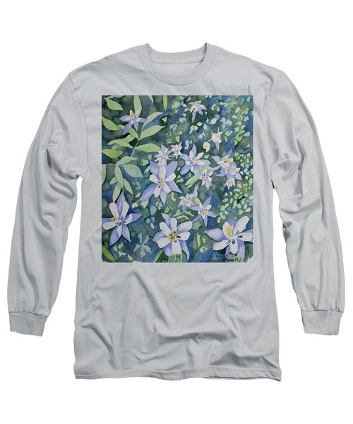 Watercolor - Blue Columbine Wildflowers Long Sleeve T-Shirt
