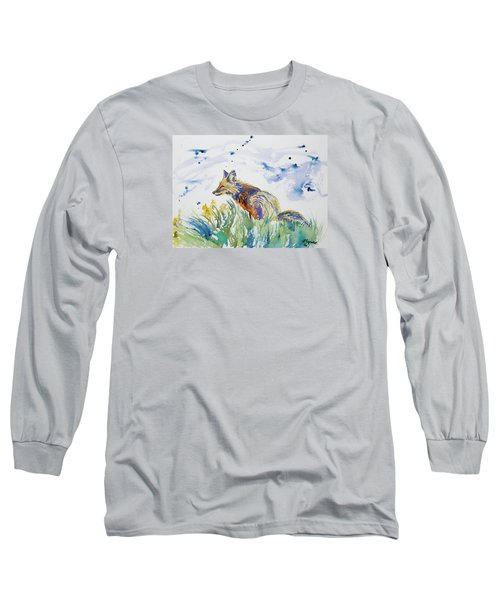 Watercolor - Fox On The Lookout Long Sleeve T-Shirt
