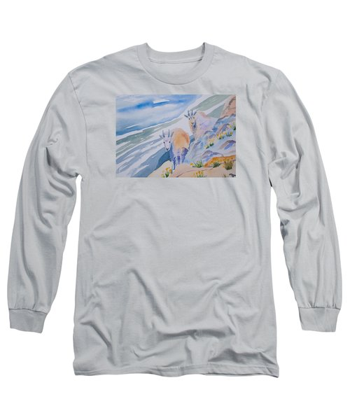 Watercolor - Mountain Goats On Quandary Long Sleeve T-Shirt