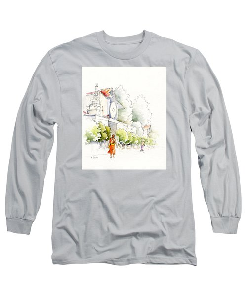 Watercolor Painting Of Monk Long Sleeve T-Shirt
