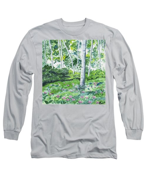 Watercolor - Spring Forest And Flowers Long Sleeve T-Shirt